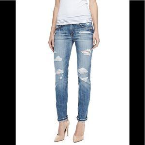 Gessa Slouched Slim Leg Distressed Jeans